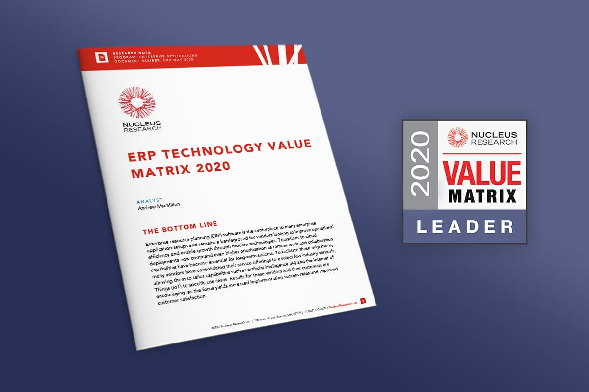 Rootstock Named a Leader in the 2020 ERP Technology Value Matrix from Nucleus Research
